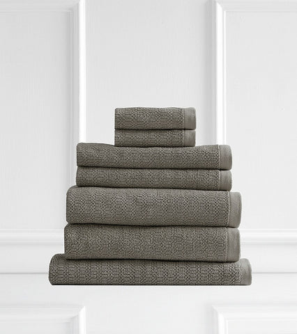 Style & Co Resort 600 GSM Egyptian Cotton Jacquard 7 Piece Towel Pack  - Latte