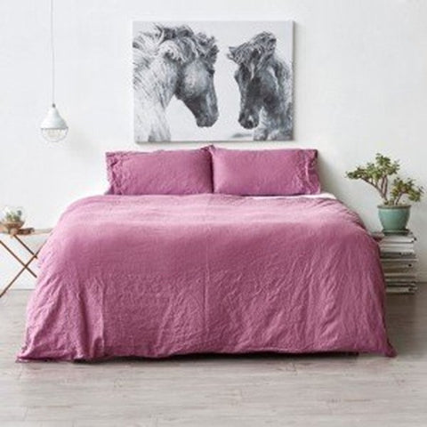 Royal Comfort 100% All Natural Luxury Linen Quilt Set - Mauve - Double - Brands Now