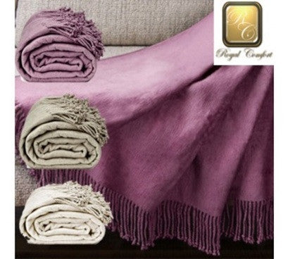 Royal Comfort Egyptian Cotton Throw Colour: Mauve 100% Egyptian Cotton 420 GSM Size: 180x200cm - Brands Now
