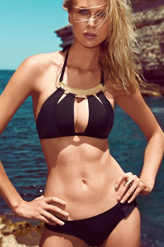 Black Golden Accessorized Halter Bikini