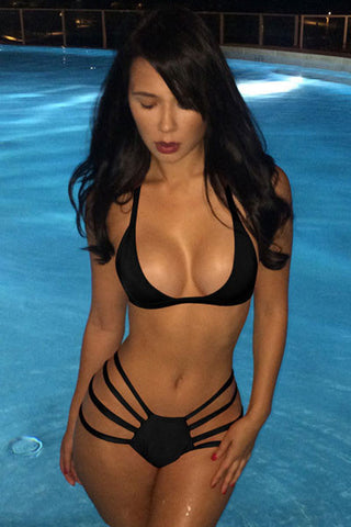 Black Sexy Strappy Hollow-out Pool Party Bikini