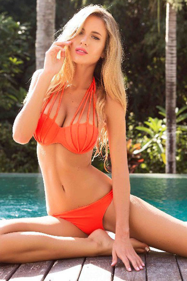 Solid Orange Strappy Halterneck Textured Bikini Swimsuit