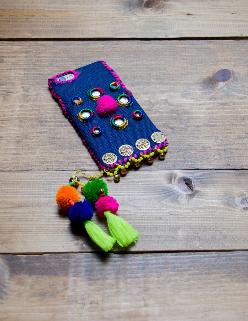 PEACOCK - Hand Embroidered iPhone Cover