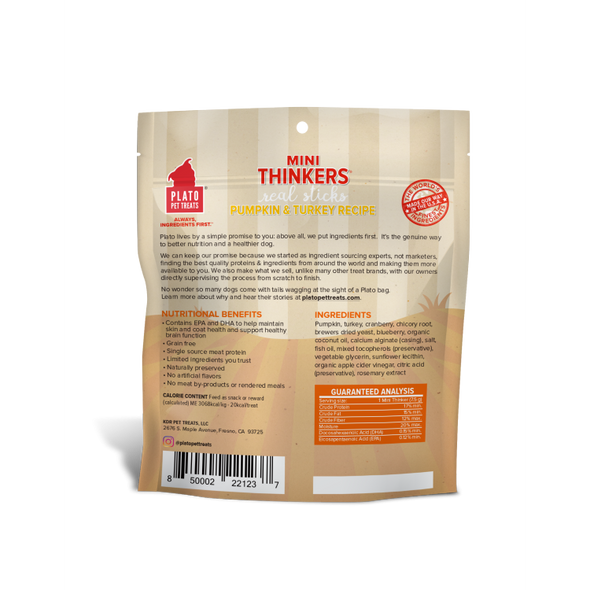 Plato Mini Thinker Grain Free Pumpkin & Turkey Meat Sticks *Special Order*