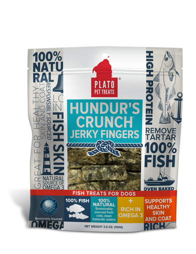 Plato Hundur's Crunch Jerky Fingers Fish Dog Treats *Overstock Special- website only special**