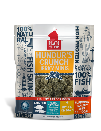 Plato Hundur's Crunch Jerky Minis Fish Dog Treats *Overstock Special- website only special**