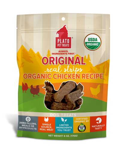 Plato Real Strips Organic Chicken Meat Bar Dog Treats