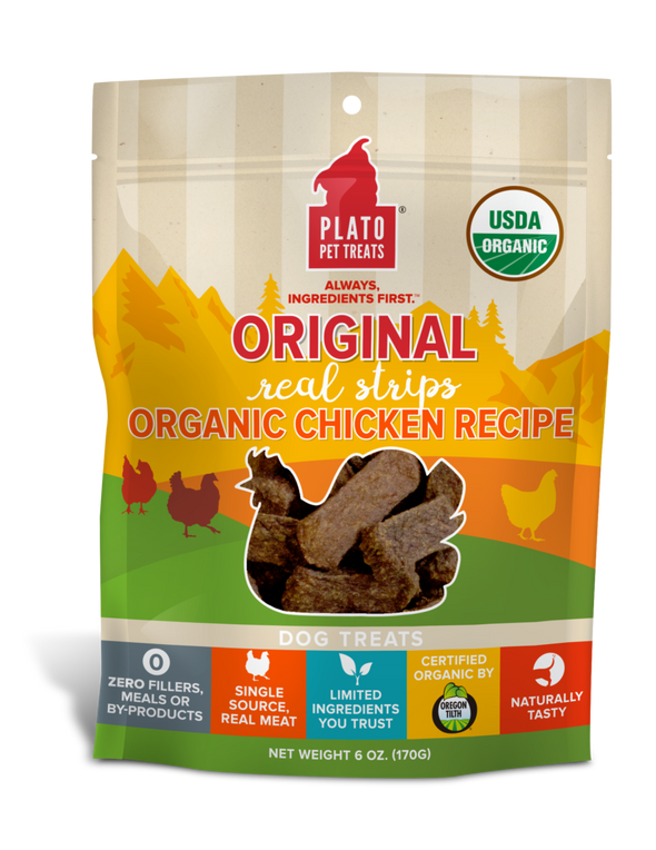 Plato Real Strips Organic Chicken Meat Bar Dog Treats (5245727080602)