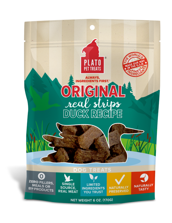 Plato Real Strips Duck Meat Bar Dog Treats