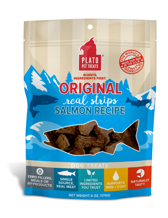 Plato Real Strips Salmon Meat Bar Dog Treats (5245718855834)
