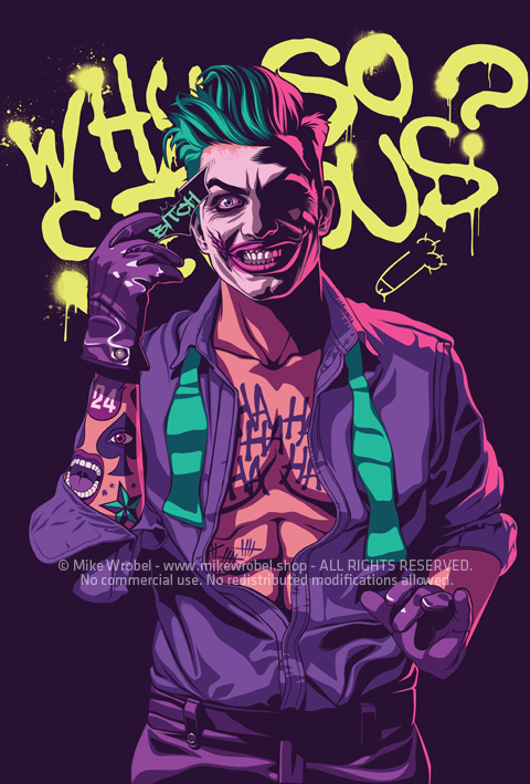 Mike Wrobel Shop Batman series: Joker Limited Edition Art Print medium-14x20 Artwork Wall Art Poster