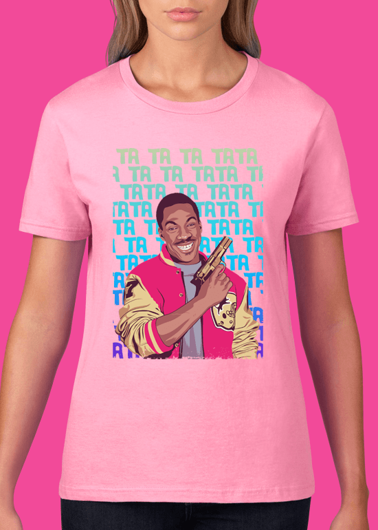 Mike Wrobel Shop Beverly Hills Cop T Shirt Woman Charity Pink Small Medium Large X-Large 2X-Large