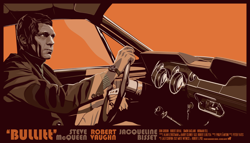 Mike Wrobel Shop Bullitt (Orange) Art Print medium-12x20 Artwork Wall Art Poster