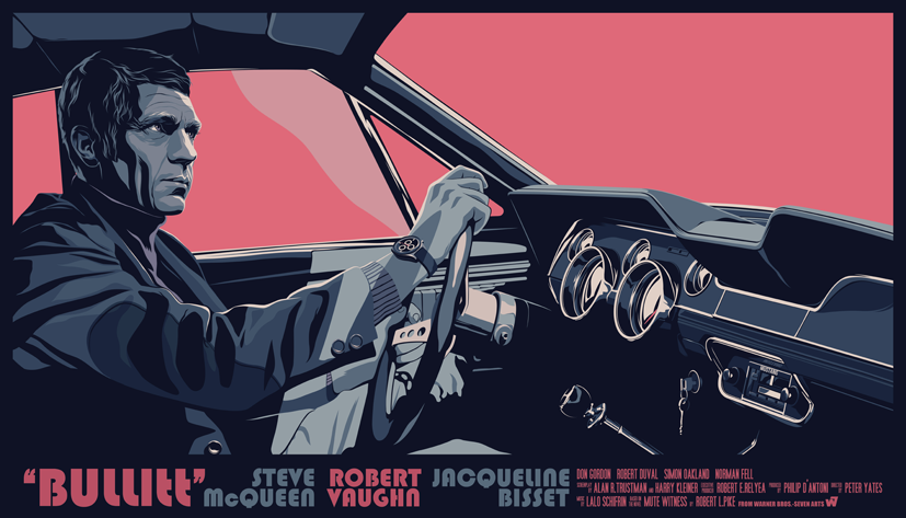 Mike Wrobel Shop Bullitt (Pink) Art Print medium-10.8x18.8 Artwork Wall Art Poster