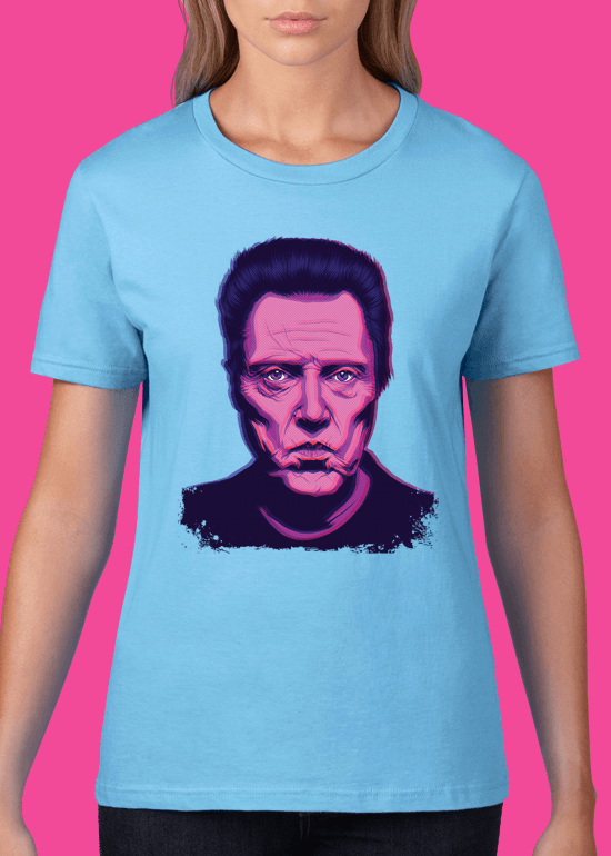 Mike Wrobel Shop Christopher Walken T Shirt Woman Light Blue Small Medium Large X-Large 2X-Large