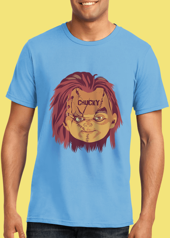 Mike Wrobel Shop Chucky T Shirt Man Light Blue Small Medium Large X-Large 2X-Large