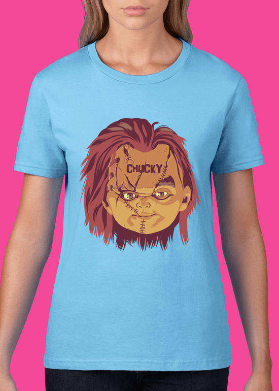 Mike Wrobel Shop Chucky T Shirt Woman Light Blue Small Medium Large X-Large 2X-Large