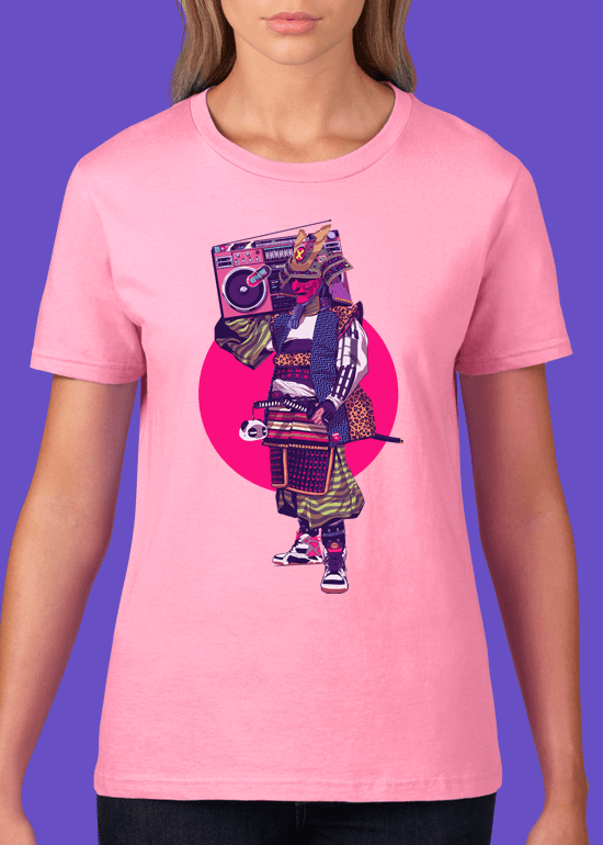 Mike Wrobel Shop HipHop Samurai T Shirt Woman Charity Pink Small Medium Large X-Large 2X-Large