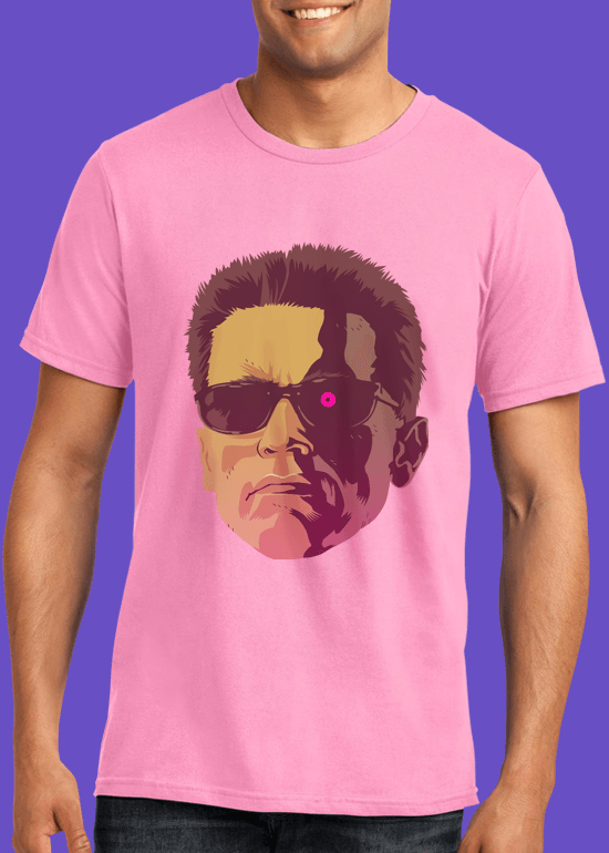 Mike Wrobel Shop The Terminator T Shirt Man Charity Pink Small Medium Large X-Large 2X-Large