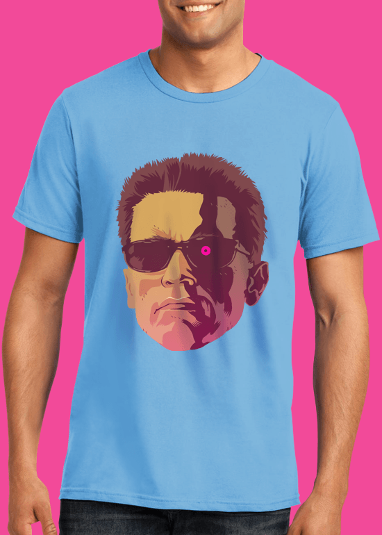 Mike Wrobel Shop The Terminator T Shirt Man Light Blue Small Medium Large X-Large 2X-Large