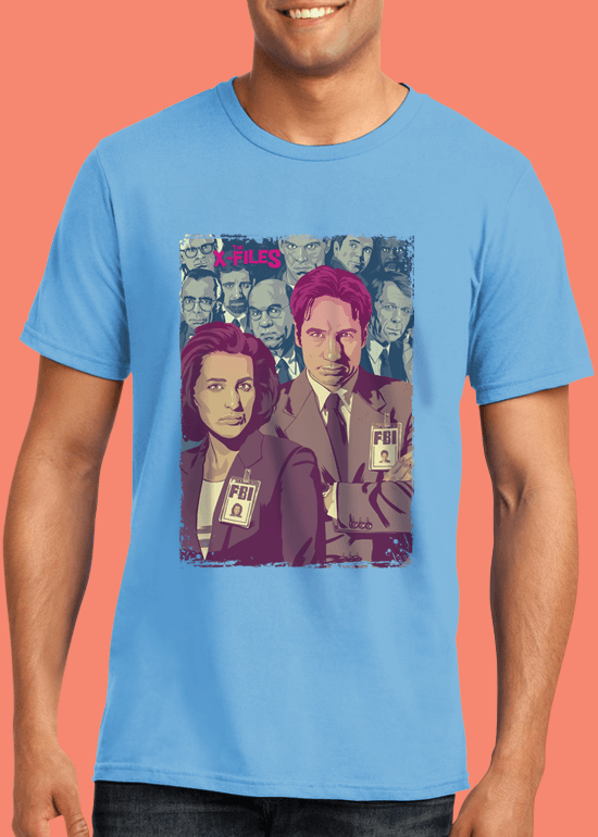 Mike Wrobel Shop The X-Files T Shirt Man Light Blue Small Medium Large X-Large 2X-Large