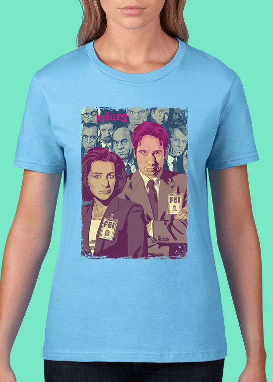 Mike Wrobel Shop The X-Files T Shirt Woman Light Blue Small Medium Large X-Large 2X-Large