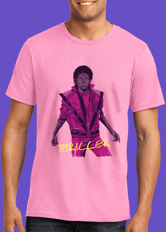 Mike Wrobel Shop Thriller Michael Jackson T Shirt Man Charity Pink Small Medium Large X-Large 2X-Large