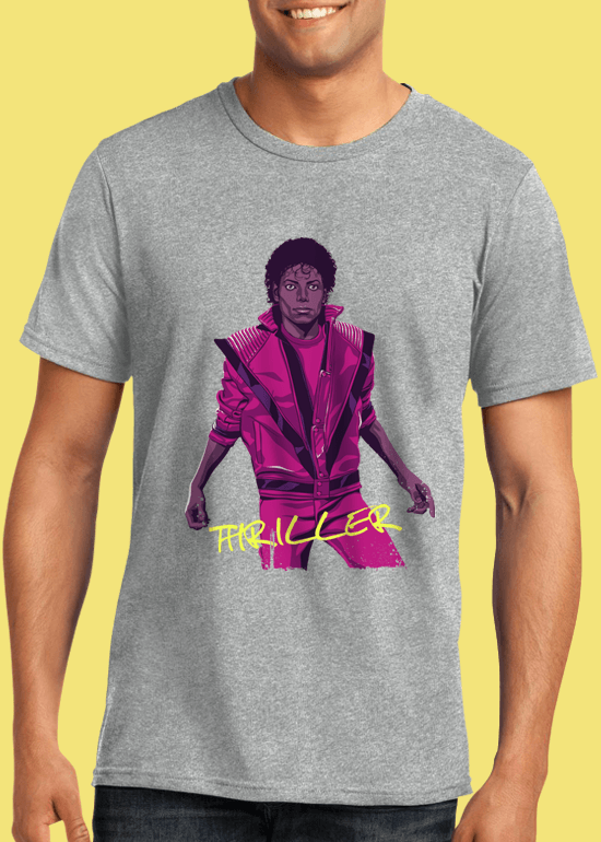 Mike Wrobel Shop Thriller Michael Jackson T Shirt Man Heather Grey Small Medium Large X-Large 2X-Large