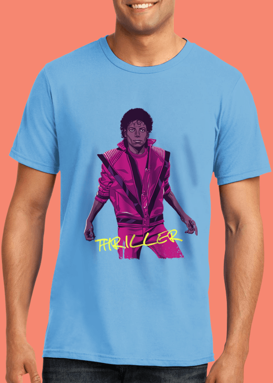 Mike Wrobel Shop Thriller Michael Jackson T Shirt Man Light Blue Small Medium Large X-Large 2X-Large