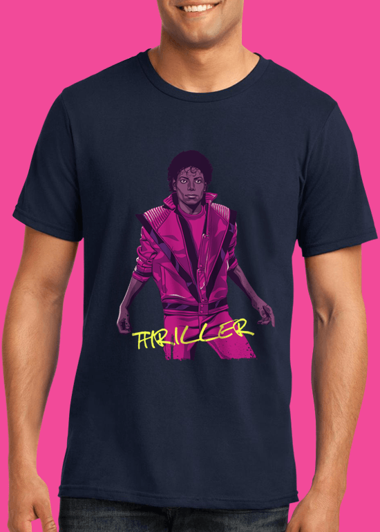 Mike Wrobel Shop Thriller Michael Jackson T Shirt Man Navy Blue Small Medium Large X-Large 2X-Large