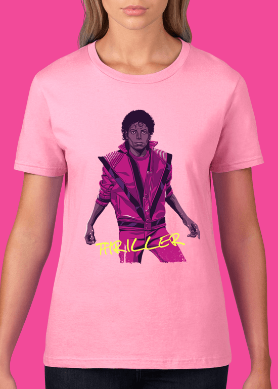 Mike Wrobel Shop Thriller Michael Jackson T Shirt Woman Charity Pink Small Medium Large X-Large 2X-Large