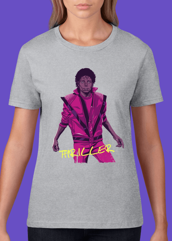 Mike Wrobel Shop Thriller Michael Jackson T Shirt Woman Heather Grey Small Medium Large X-Large 2X-Large