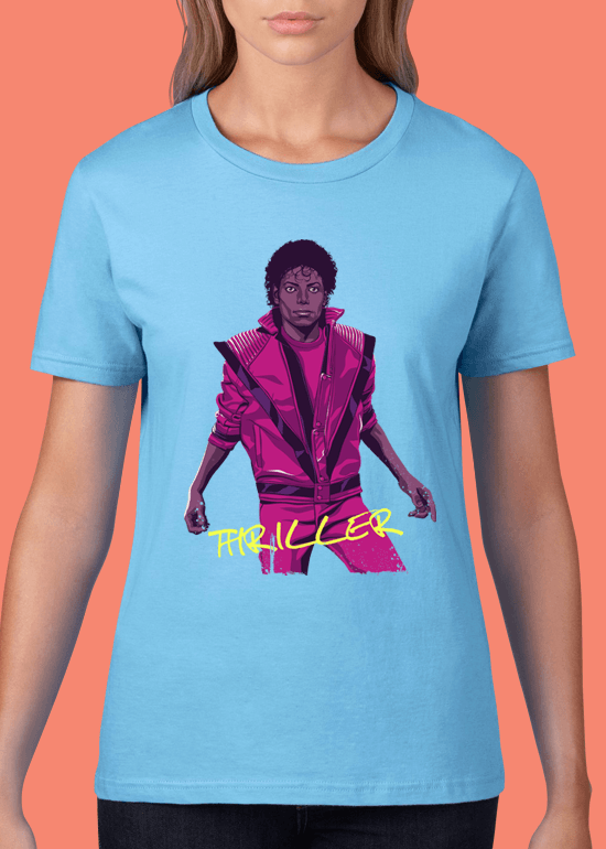 Mike Wrobel Shop Thriller Michael Jackson T Shirt Woman Light Blue Small Medium Large X-Large 2X-Large