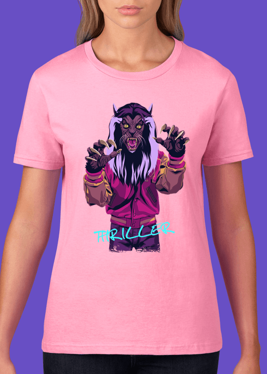 Mike Wrobel Shop Thriller Werewolf T Shirt Woman Charity Pink Small Medium Large X-Large 2X-Large
