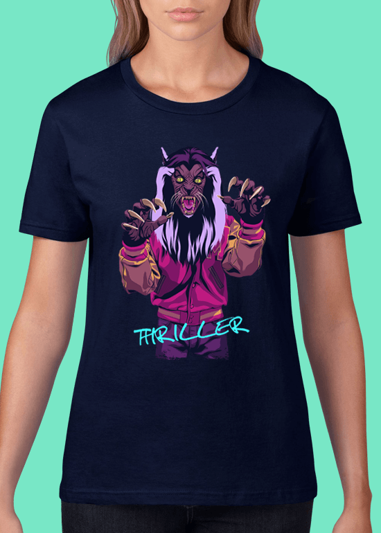 Mike Wrobel Shop Thriller Werewolf T Shirt Woman Navy Blue Small Medium Large X-Large 2X-Large