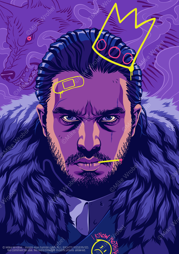 Mike Wrobel Shop Thrones J. Snow Limited Edition Art Print medium-14x20 Artwork Wall Art Poster