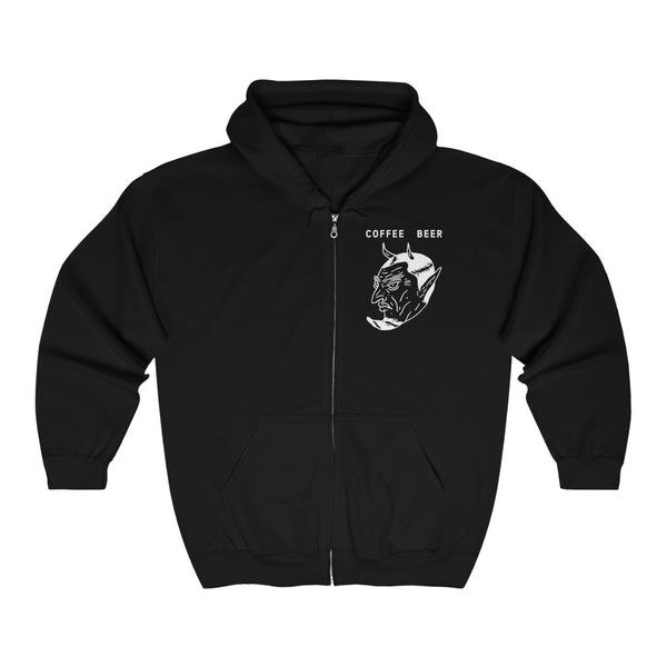 """Devil in the Decaf"" Unisex Heavy Blend™ Full Zip Hooded Sweatshirt"