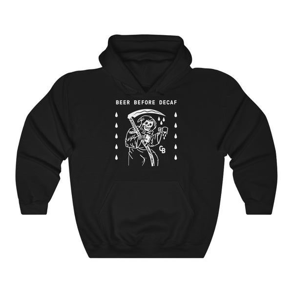 """Beer Before Decaf"" Unisex Heavy Blend™ Hooded Sweatshirt"