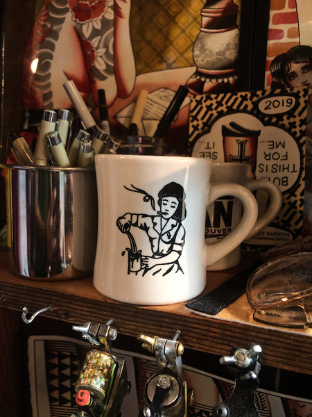 Coffee Beer Sad Waitress Diner Mug, artwork Side, in tattoo shop