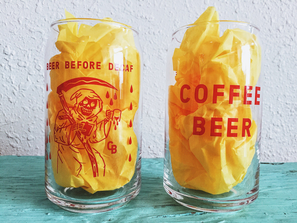 """Beer Before Decaf"" 16oz. Glass Can"