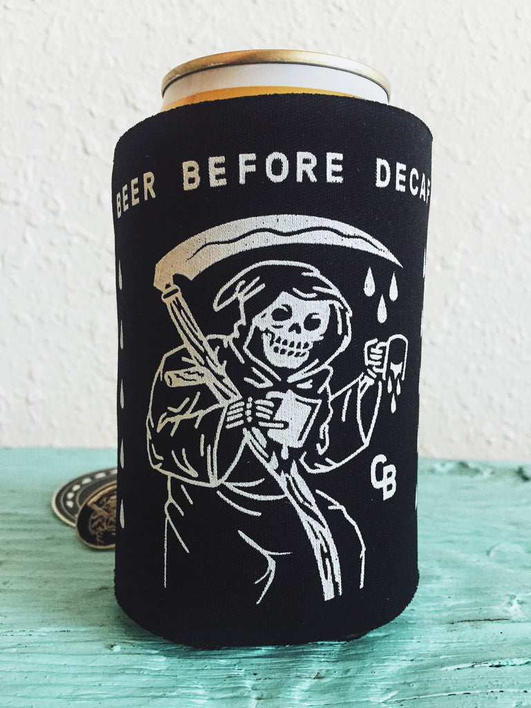 "Coffee Beer ""Beer Before Decaf"" Grim Reaper Artwork Side"