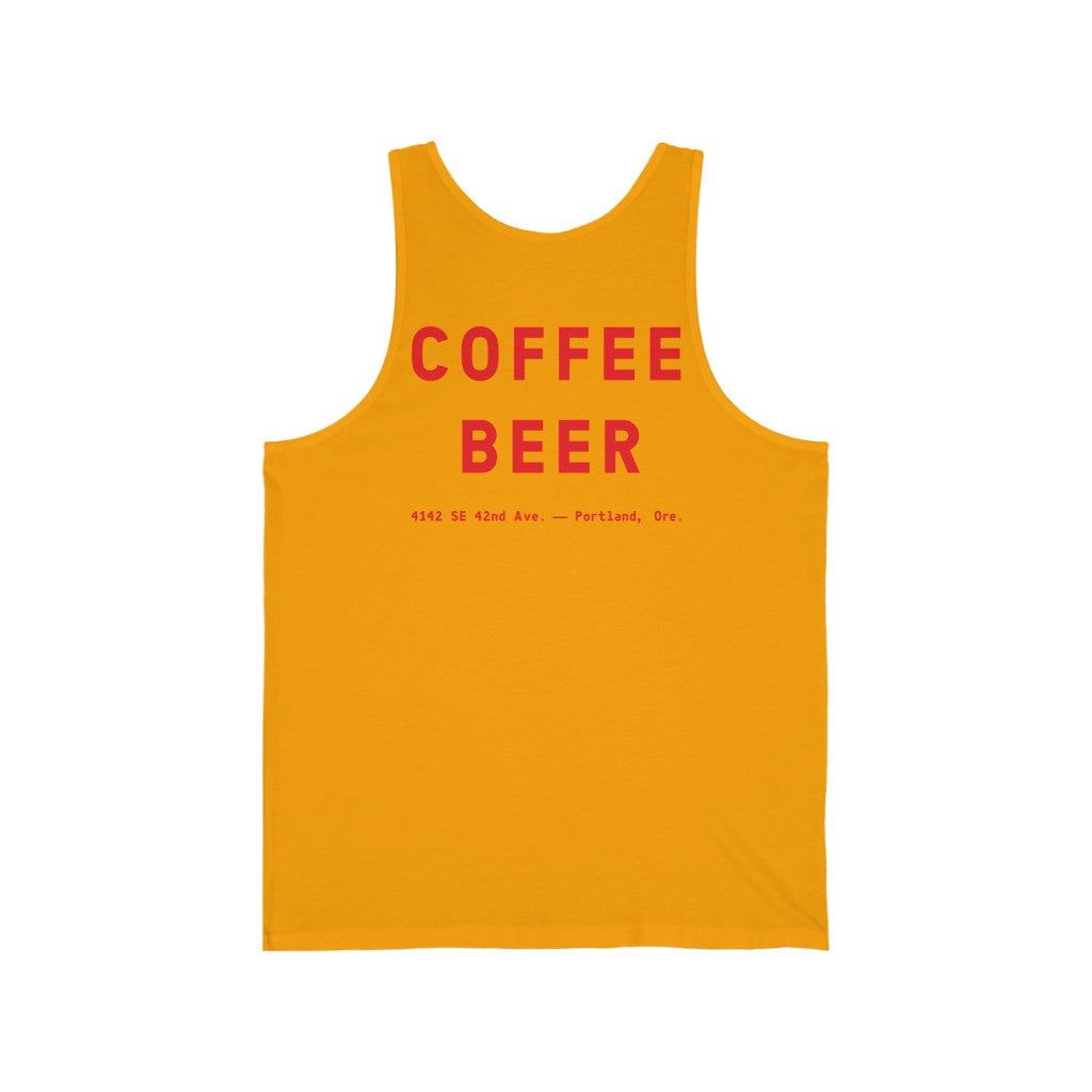 """Devil In The Decaf"" Unisex Jersey Tank"