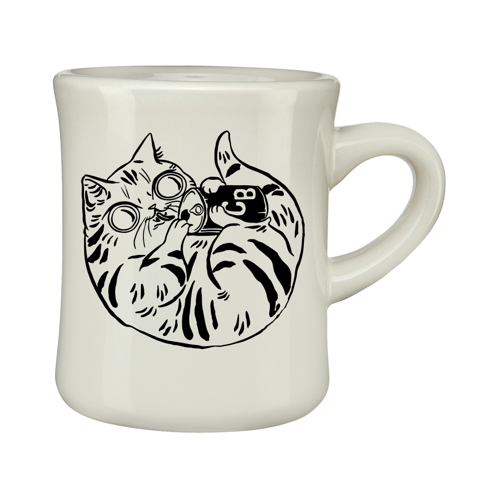 Cee Kitty Cat, 10oz. Diner Mug, Kitty Artwork Side -- From Coffee Beer