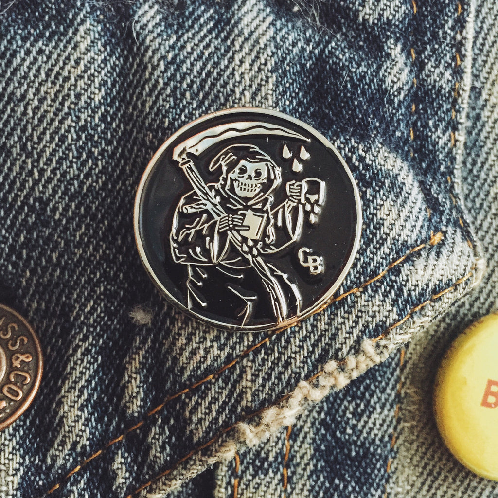 "Coffee Beer ""Beer Before Decaf"" One Inch Enamel Pin, Grim Reaper Cutting Coffee Cup in Half"