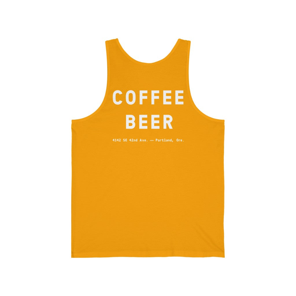 """Beer Before Decaf"" Unisex Jersey Tank"