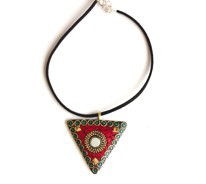 Red Green Jaipur Choker - We Wear Gems