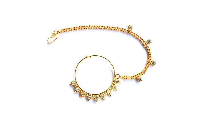 Gold Clip On Nose Ring + Chain - We Wear Gems  - 1