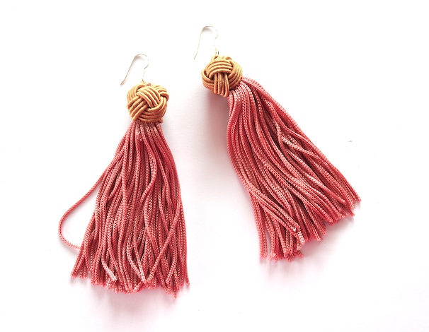 Pink with Beige Tassel Earrings - Sterling Silver - We Wear Gems