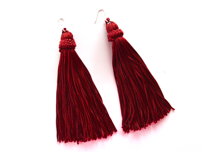 Maroon Tassel Earrings - Sterling Silver - We Wear Gems