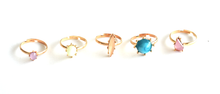 Coloured Gold Ring Set (5 piece)